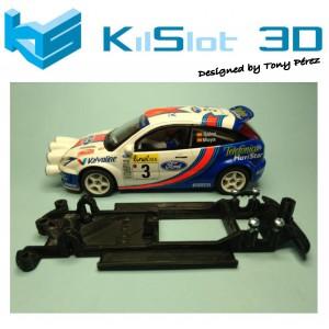Chasis lineal black Ford Focus  WRC SCX Kilslot Ks-CF1B
