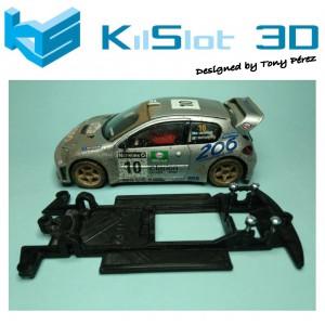 Chasis lineal black Peugeot 206 WRC SCX Kilslot KS-CP2B