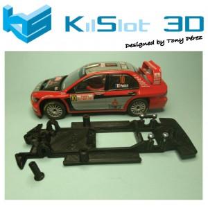 Chasis lineal black Mitsubishi Evo VIII WRC SCX Kilslot Ks-CE4B