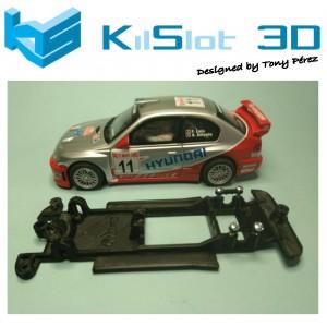 Chasis lineal black Hyundai Accent WRC SCX Kilslot Ks-CH1B
