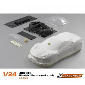 Carrocería 1/24 488 GT3 en Fibra con Imprimación